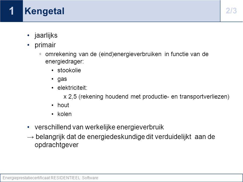Energieprestatiecertificaat RESIDENTIEEL: Software Kengetal jaarlijks primair ◦ omrekening van de (eind)energieverbruiken in functie van de energiedra