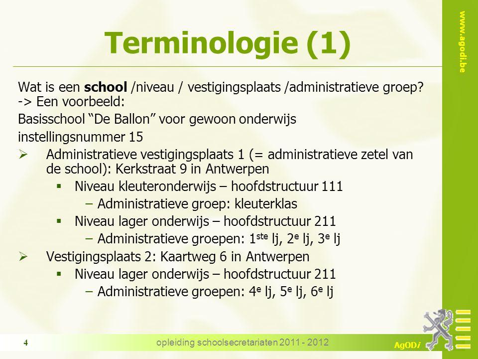 www.agodi.be AgODi Terminologie (1) Wat is een school /niveau / vestigingsplaats /administratieve groep.