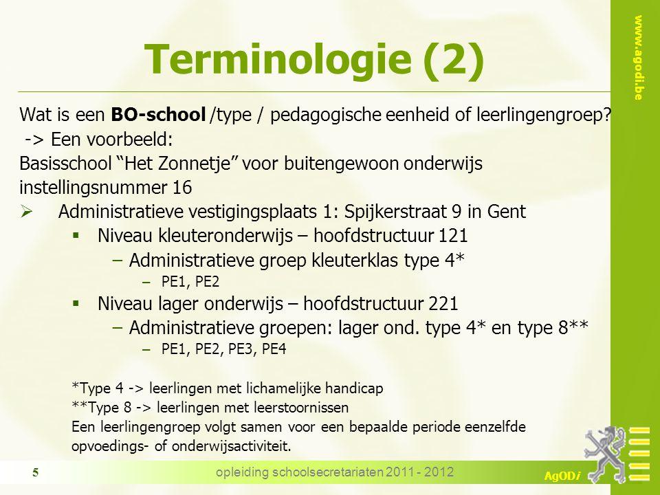 www.agodi.be AgODi Terminologie (2) Wat is een BO-school /type / pedagogische eenheid of leerlingengroep.