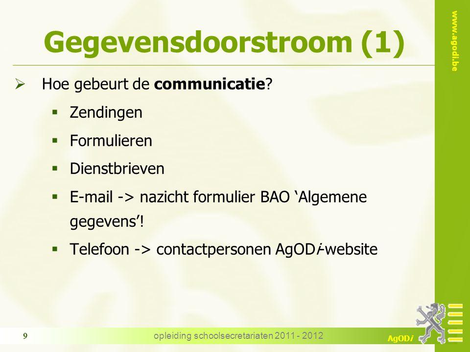 www.agodi.be AgODi opleiding schoolsecretariaten 2011 - 2012 9 Gegevensdoorstroom (1)  Hoe gebeurt de communicatie.