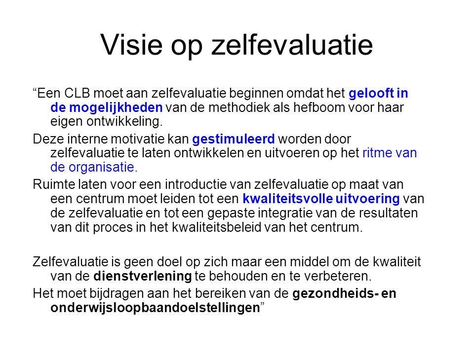 Visie op zelfevaluatie Een CLB moet aan zelfevaluatie beginnen omdat het gelooft in de mogelijkheden van de methodiek als hefboom voor haar eigen ontwikkeling.