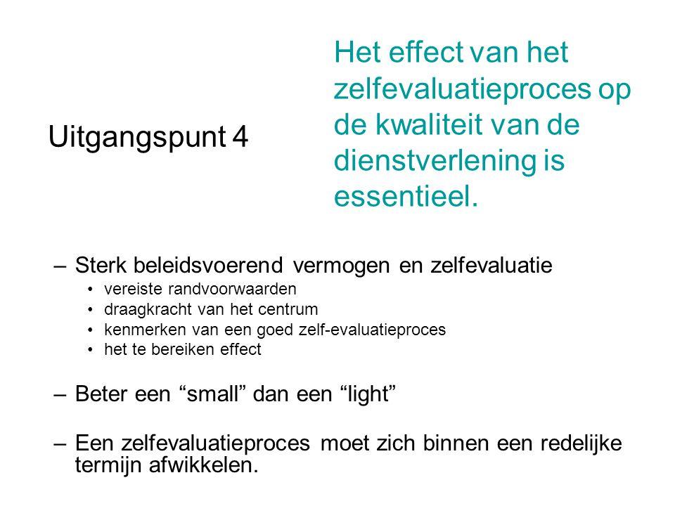 Uitgangspunt 4 –Sterk beleidsvoerend vermogen en zelfevaluatie vereiste randvoorwaarden draagkracht van het centrum kenmerken van een goed zelf-evalua