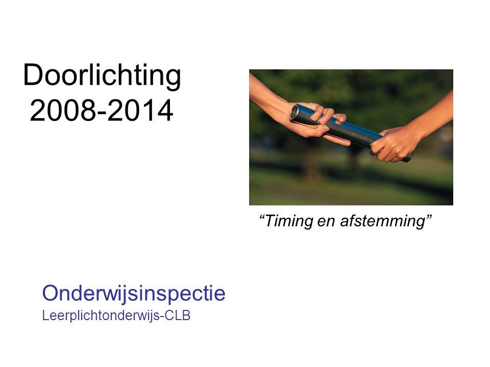 """Doorlichting 2008-2014 Onderwijsinspectie Leerplichtonderwijs-CLB """"Timing en afstemming"""""""