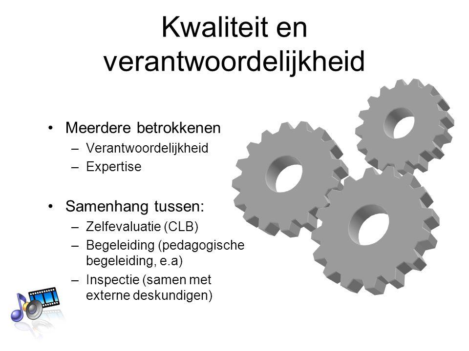 Kwaliteit en verantwoordelijkheid Meerdere betrokkenen –Verantwoordelijkheid –Expertise Samenhang tussen: –Zelfevaluatie (CLB) –Begeleiding (pedagogische begeleiding, e.a) –Inspectie (samen met externe deskundigen)