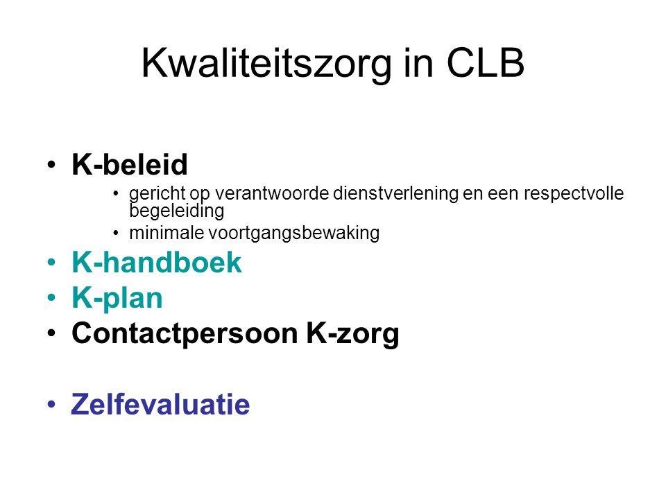 Kwaliteitszorg in CLB K-beleid gericht op verantwoorde dienstverlening en een respectvolle begeleiding minimale voortgangsbewaking K-handboek K-plan Contactpersoon K-zorg Zelfevaluatie