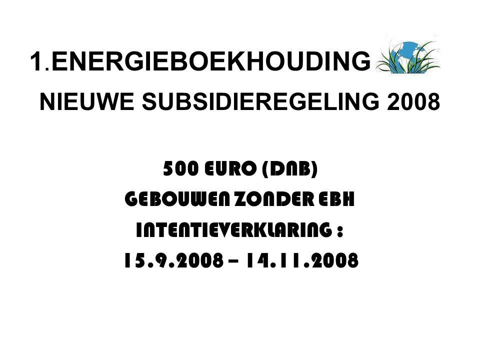 NIEUWE SUBSIDIEREGELING 2008 500 EURO (DNB) GEBOUWEN ZONDER EBH INTENTIEVERKLARING : 15.9.2008 – 14.11.2008