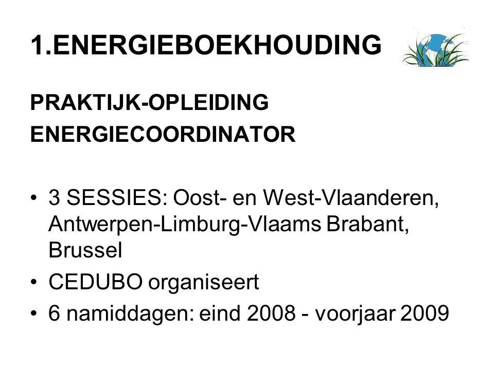 1.ENERGIEBOEKHOUDING PRAKTIJK-OPLEIDING ENERGIECOORDINATOR 3 SESSIES: Oost- en West-Vlaanderen, Antwerpen-Limburg-Vlaams Brabant, Brussel CEDUBO organ