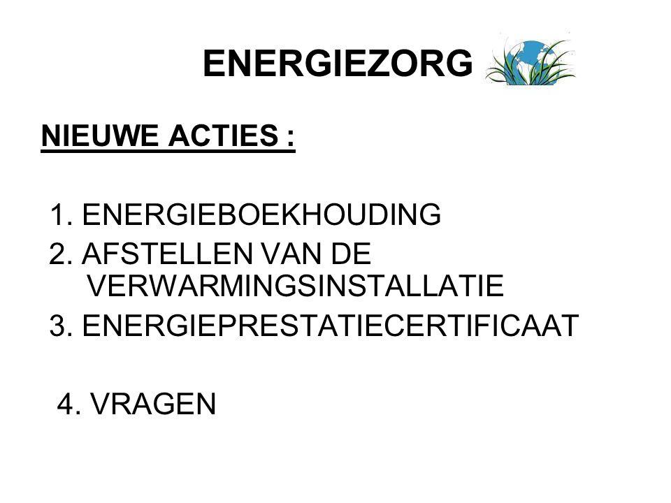 ENERGIEZORG NIEUWE ACTIES : 1. ENERGIEBOEKHOUDING 2. AFSTELLEN VAN DE VERWARMINGSINSTALLATIE 3. ENERGIEPRESTATIECERTIFICAAT 4. VRAGEN