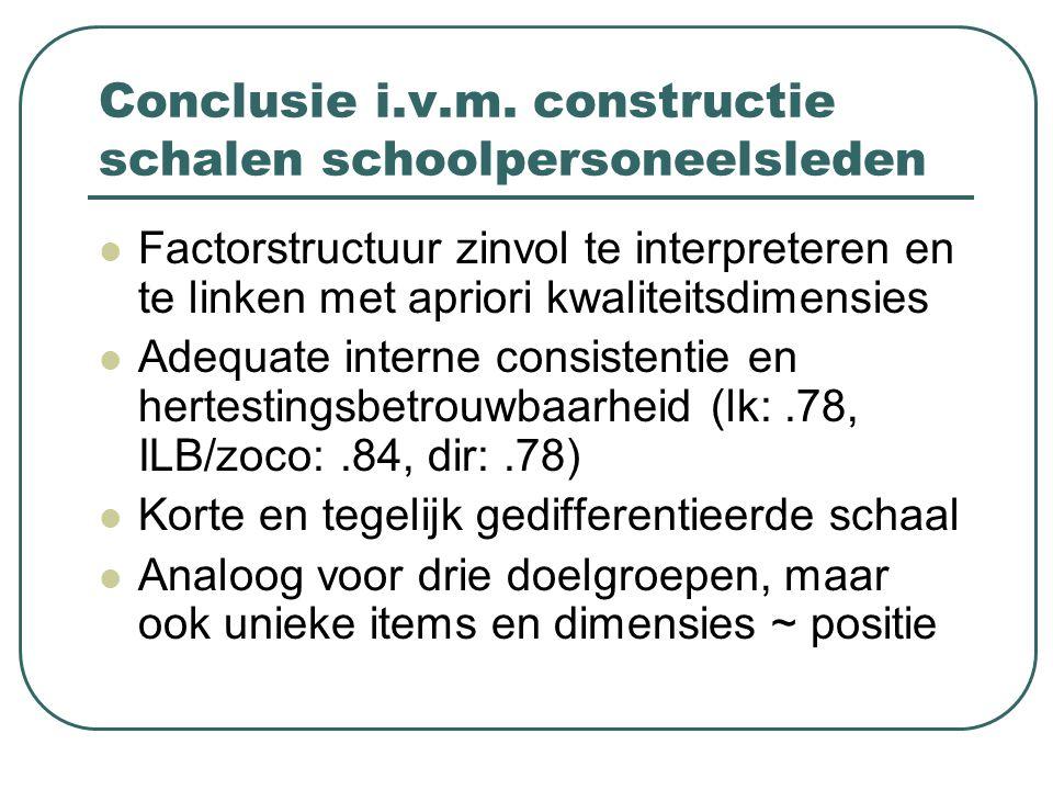 Conclusie i.v.m. constructie schalen schoolpersoneelsleden Factorstructuur zinvol te interpreteren en te linken met apriori kwaliteitsdimensies Adequa