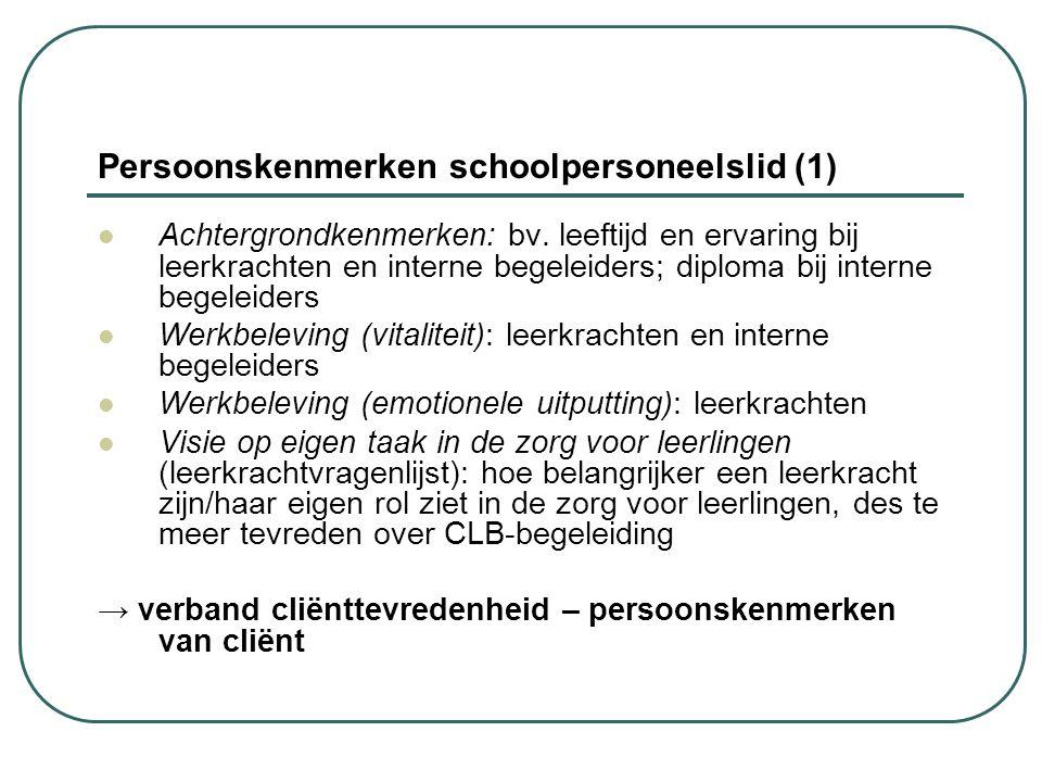 Persoonskenmerken schoolpersoneelslid (1) Achtergrondkenmerken: bv. leeftijd en ervaring bij leerkrachten en interne begeleiders; diploma bij interne