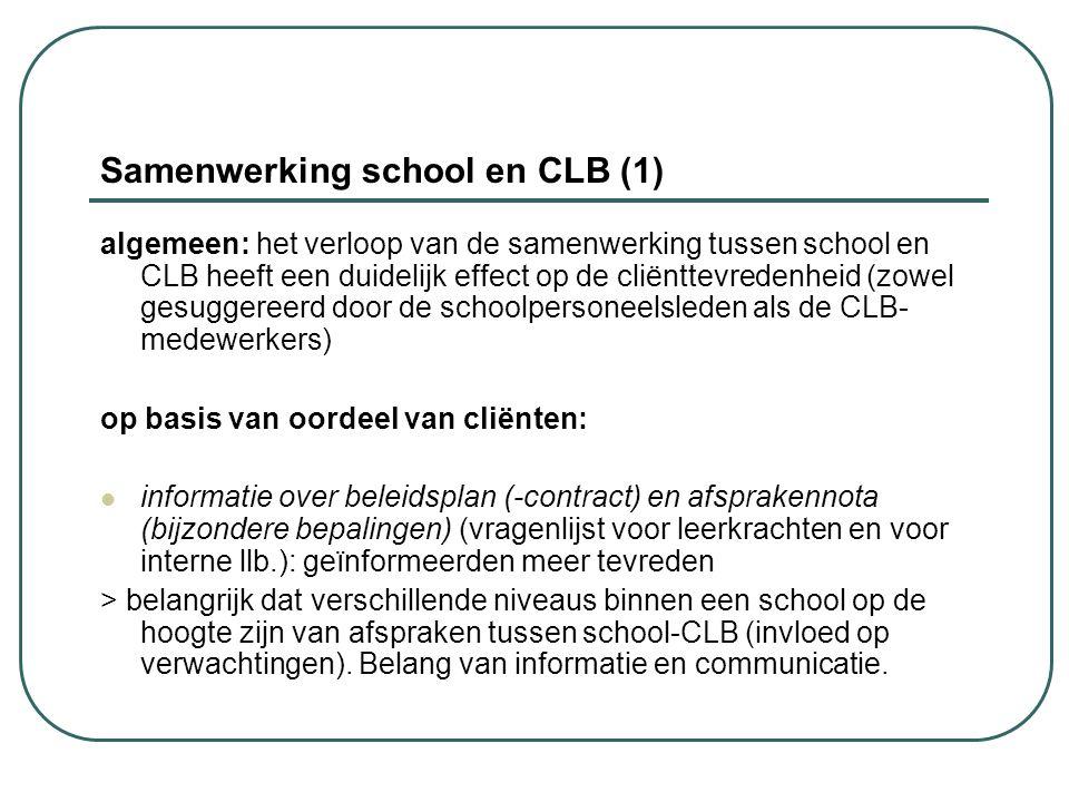 Samenwerking school en CLB (1) algemeen: het verloop van de samenwerking tussen school en CLB heeft een duidelijk effect op de cliënttevredenheid (zow