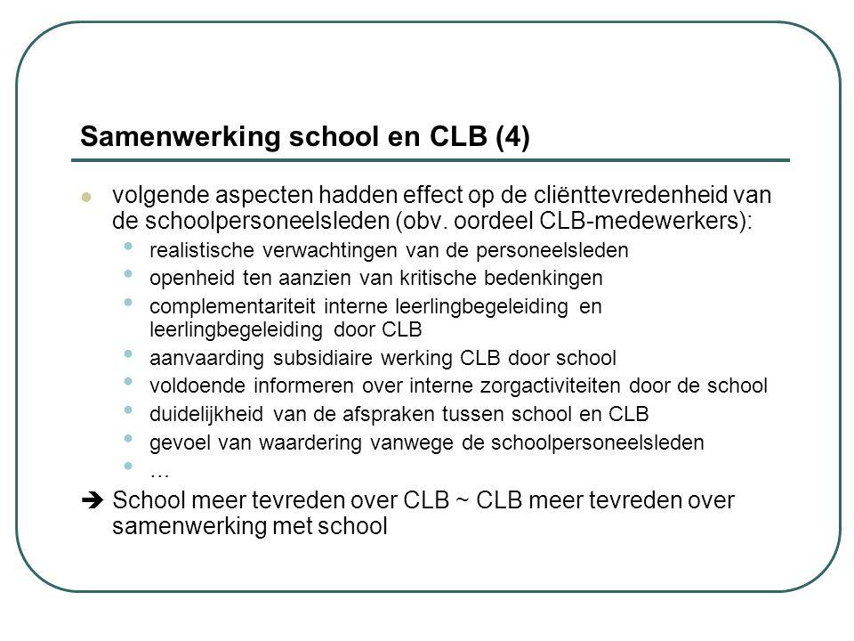 Samenwerking school en CLB (4) volgende aspecten hadden effect op de cliënttevredenheid van de schoolpersoneelsleden (obv. oordeel CLB-medewerkers): r