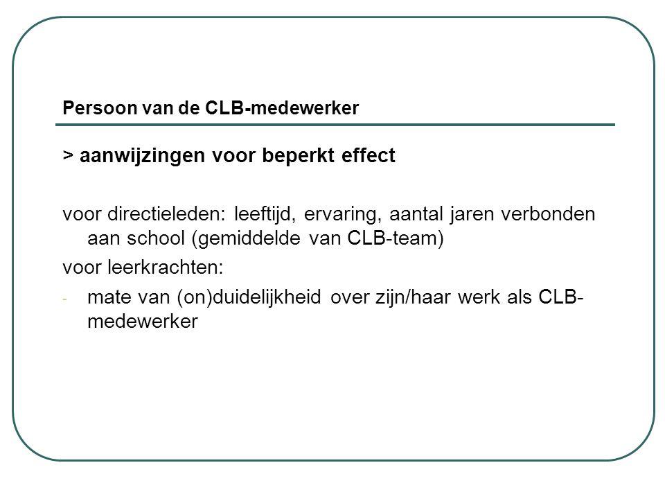 Persoon van de CLB-medewerker > aanwijzingen voor beperkt effect voor directieleden: leeftijd, ervaring, aantal jaren verbonden aan school (gemiddelde