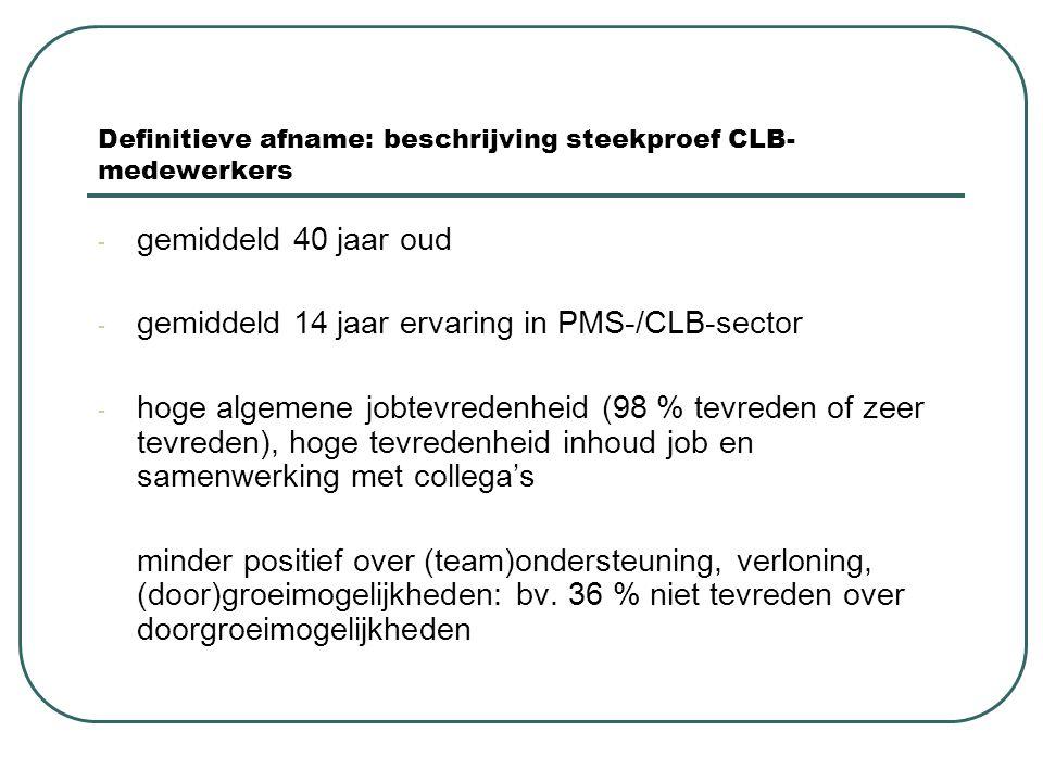 Definitieve afname: beschrijving steekproef CLB- medewerkers - gemiddeld 40 jaar oud - gemiddeld 14 jaar ervaring in PMS-/CLB-sector - hoge algemene j