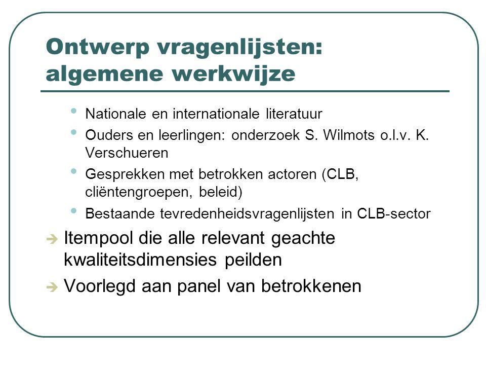 Ontwerp vragenlijsten: algemene werkwijze Nationale en internationale literatuur Ouders en leerlingen: onderzoek S. Wilmots o.l.v. K. Verschueren Gesp