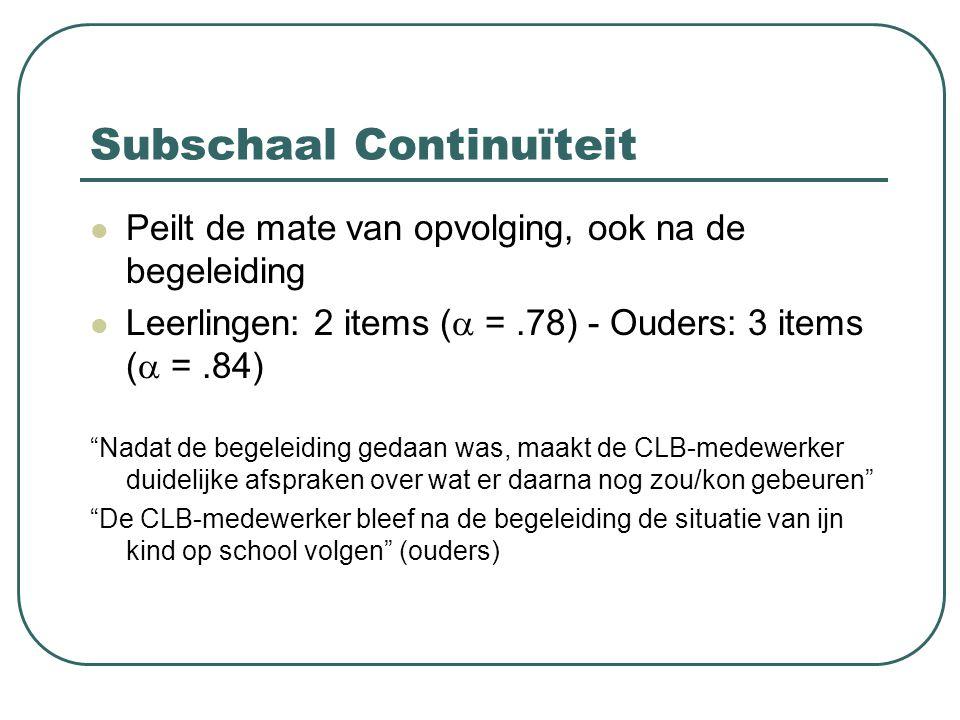 """Subschaal Continuïteit Peilt de mate van opvolging, ook na de begeleiding Leerlingen: 2 items (  =.78) - Ouders: 3 items (  =.84) """"Nadat de begeleid"""