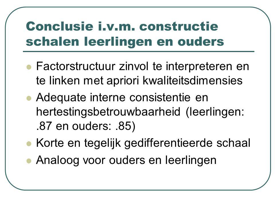 Conclusie i.v.m. constructie schalen leerlingen en ouders Factorstructuur zinvol te interpreteren en te linken met apriori kwaliteitsdimensies Adequat