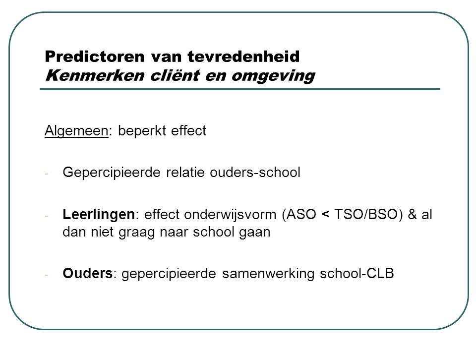 Predictoren van tevredenheid Kenmerken cliënt en omgeving Algemeen: beperkt effect - Gepercipieerde relatie ouders-school - Leerlingen: effect onderwi