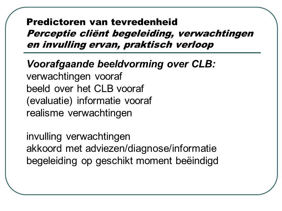 Predictoren van tevredenheid Perceptie cliënt begeleiding, verwachtingen en invulling ervan, praktisch verloop Voorafgaande beeldvorming over CLB: ver