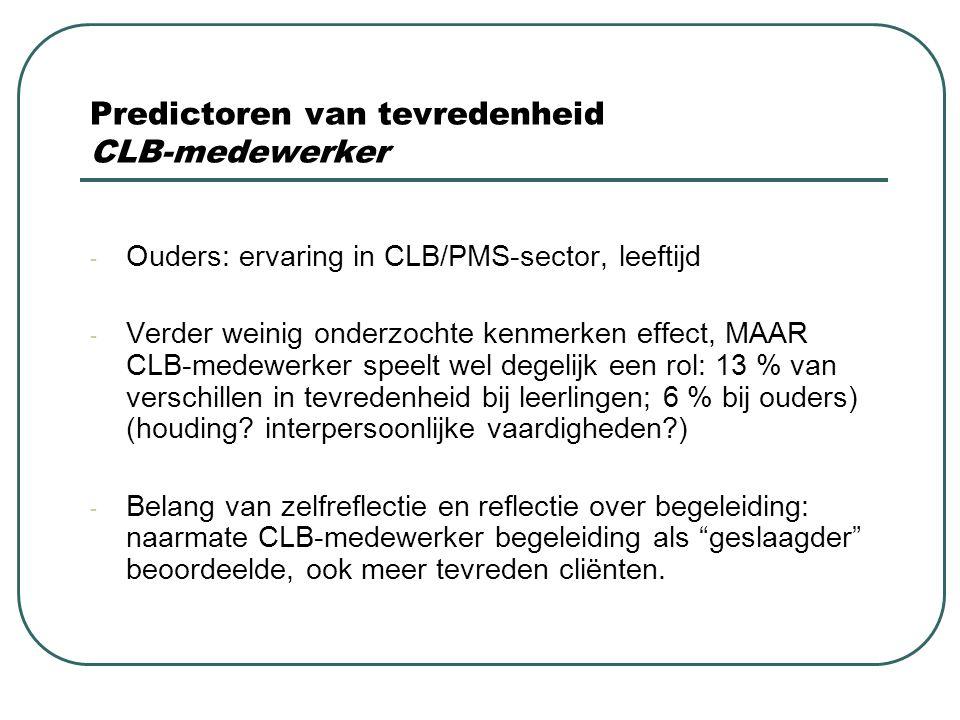 Predictoren van tevredenheid CLB-medewerker - Ouders: ervaring in CLB/PMS-sector, leeftijd - Verder weinig onderzochte kenmerken effect, MAAR CLB-mede