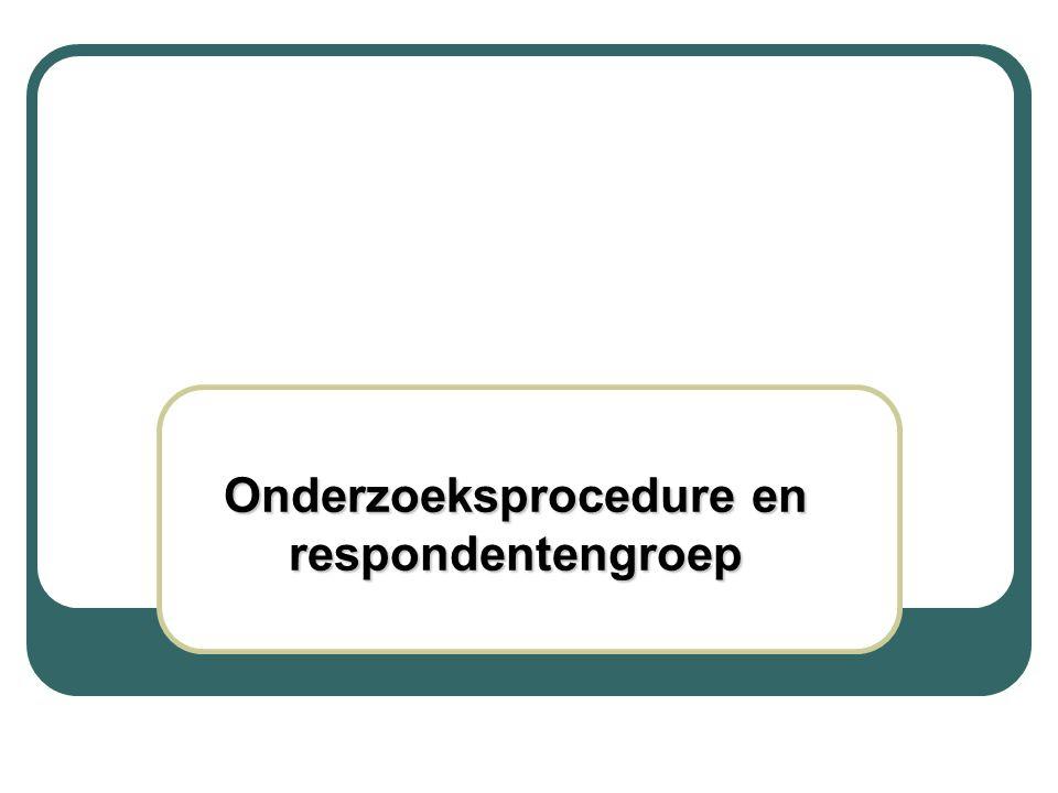 Onderzoeksprocedure - mei/juli 2006 - steekproef: 28 CLB's (provincie/net) - per CLB: 40 vragenlijsten lln (+12 jaar) & 40 vragenlijsten ouders (van lln -14 jaar) - criteria: ind.