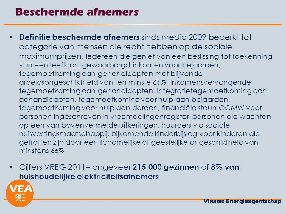 Beschermde afnemers Definitie beschermde afnemers sinds medio 2009 beperkt tot categorie van mensen die recht hebben op de sociale maximumprijzen: ied