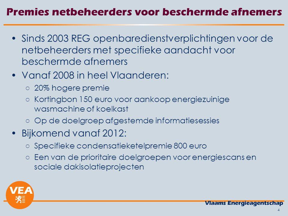 Vanaf april 2009 zijn er 820 dossiers goedgekeurd 1615 investeringen –Dakisolatie 387, gemiddelde kost 3.870 € (R=4) –Condensatieketels 539, gemiddelde kost 4.904 € –hoogrendementsglas 687, gemiddelde kost 8.490 € –Gemiddeld subsidiebedrag 12.160 € Totaal toegekend bedrag 9,9 miljoen euro Begin oktober 2012 werd de regeling stopgezet SVK-woningen komen in aanmerking voor sociale dakisolatieprojecten en Vlaamse renovatiepremie 100 % subsidie voor SVK's