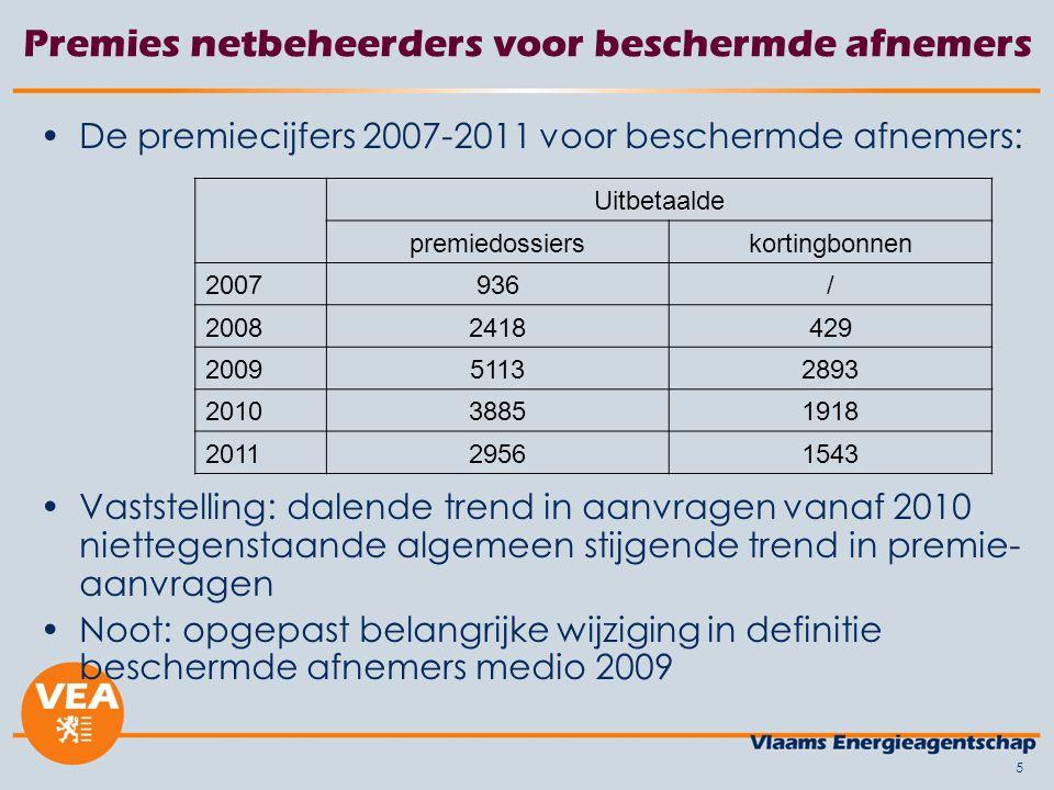 5 Premies netbeheerders voor beschermde afnemers De premiecijfers 2007-2011 voor beschermde afnemers: Vaststelling: dalende trend in aanvragen vanaf 2