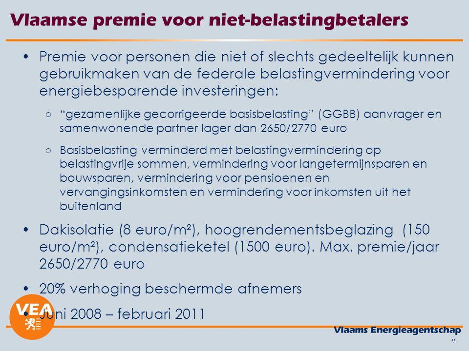 10 Vlaamse premie voor niet-belastingbetalers Totaal aantal ontvangen aanvragen: 12.893 ○Dakisolatie 14,7%, glas 46,5%, ketel 38,8% ○836 dossiers voor >1 type investering Goedgekeurde aanvragen (nog 83 dossiers in behandeling): 11.303 (87,7%) Praktijk: ruim 51% GGBB=0 euro; 90% GGBB <= 1500 euro Beschermde afnemers: 2.928 aanvragen of 22,7% (cfr.