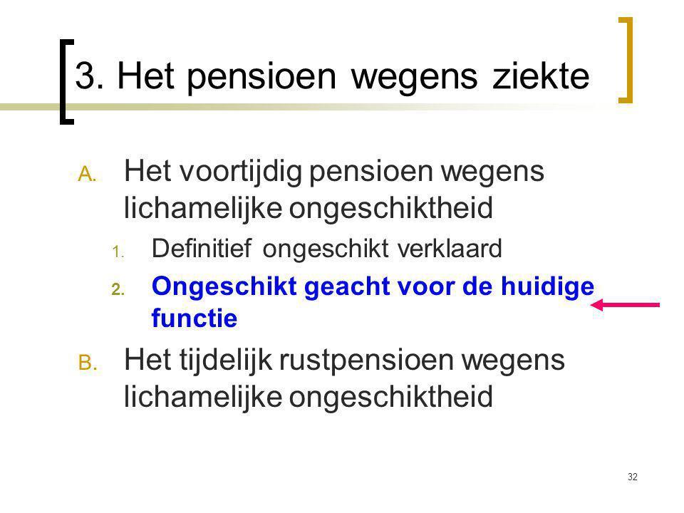 32 3. Het pensioen wegens ziekte A. Het voortijdig pensioen wegens lichamelijke ongeschiktheid 1.