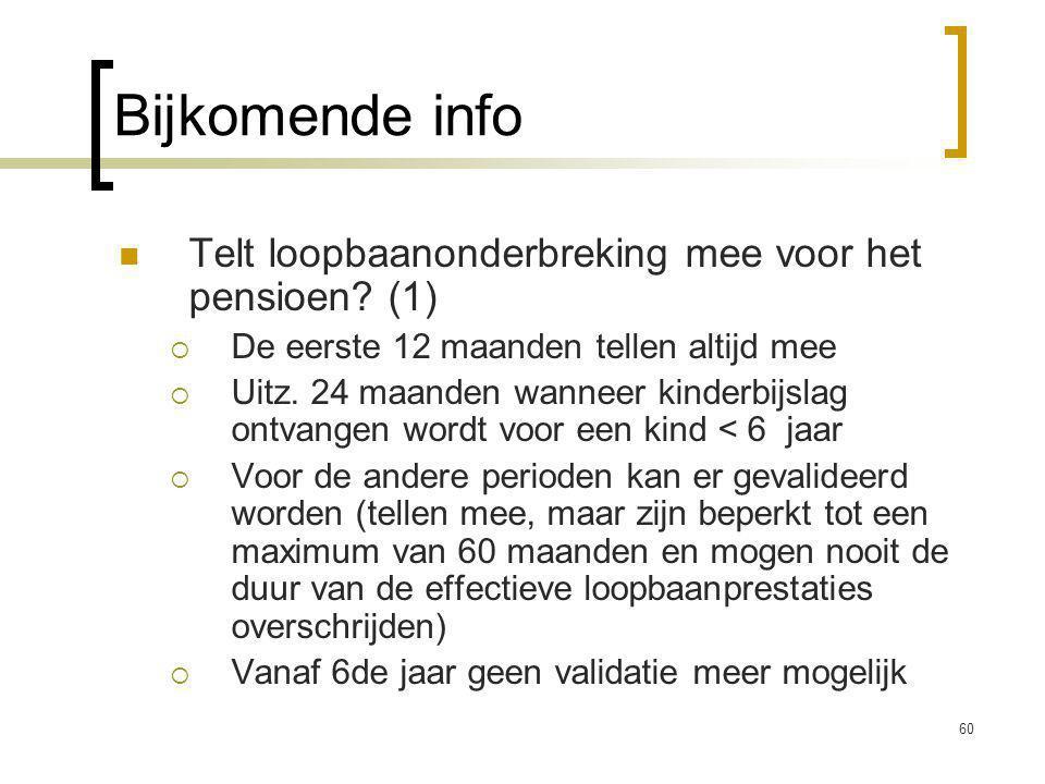 60 Bijkomende info Telt loopbaanonderbreking mee voor het pensioen.