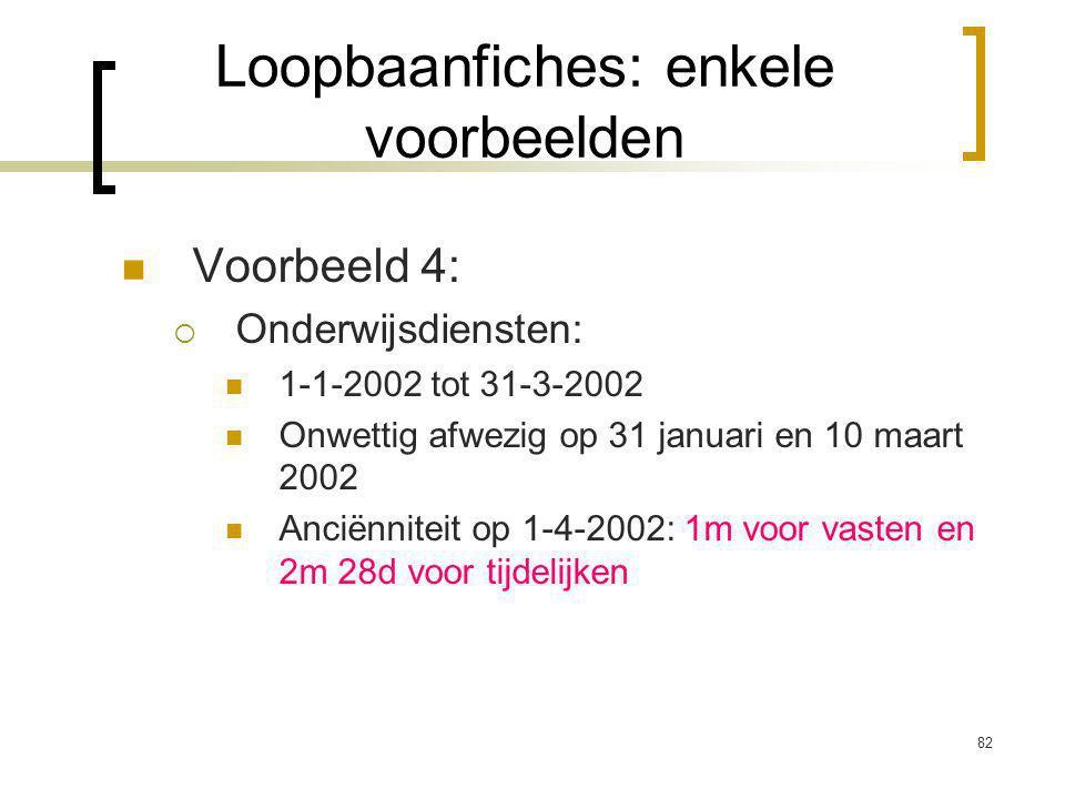 82 Voorbeeld 4:  Onderwijsdiensten: 1-1-2002 tot 31-3-2002 Onwettig afwezig op 31 januari en 10 maart 2002 Anciënniteit op 1-4-2002: 1m voor vasten en 2m 28d voor tijdelijken Loopbaanfiches: enkele voorbeelden