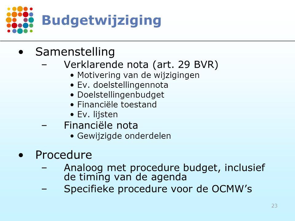 23 Budgetwijziging Samenstelling –Verklarende nota (art.