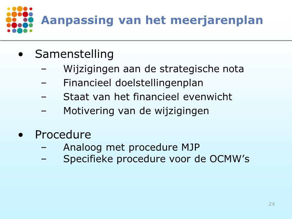24 Aanpassing van het meerjarenplan Samenstelling –Wijzigingen aan de strategische nota –Financieel doelstellingenplan –Staat van het financieel evenwicht –Motivering van de wijzigingen Procedure –Analoog met procedure MJP –Specifieke procedure voor de OCMW's