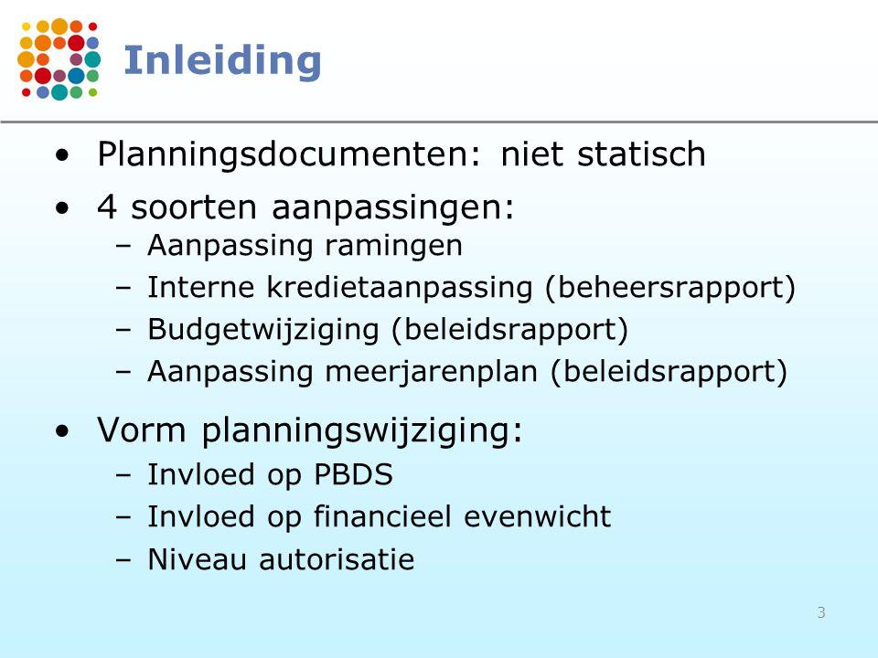 3 Inleiding Planningsdocumenten: niet statisch 4 soorten aanpassingen: –Aanpassing ramingen –Interne kredietaanpassing (beheersrapport) –Budgetwijziging (beleidsrapport) –Aanpassing meerjarenplan (beleidsrapport) Vorm planningswijziging: –Invloed op PBDS –Invloed op financieel evenwicht –Niveau autorisatie