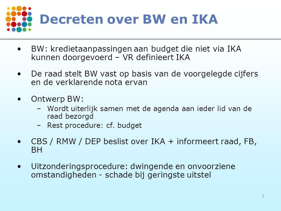 7 Decreten over BW en IKA BW: kredietaanpassingen aan budget die niet via IKA kunnen doorgevoerd – VR definieert IKA De raad stelt BW vast op basis van de voorgelegde cijfers en de verklarende nota ervan Ontwerp BW: –Wordt uiterlijk samen met de agenda aan ieder lid van de raad bezorgd –Rest procedure: cf.