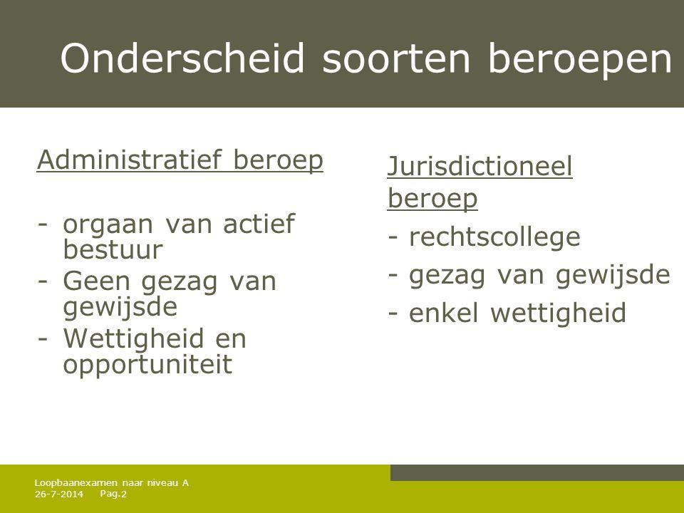 Pag. Onderscheid soorten beroepen Administratief beroep -orgaan van actief bestuur -Geen gezag van gewijsde -Wettigheid en opportuniteit Jurisdictione