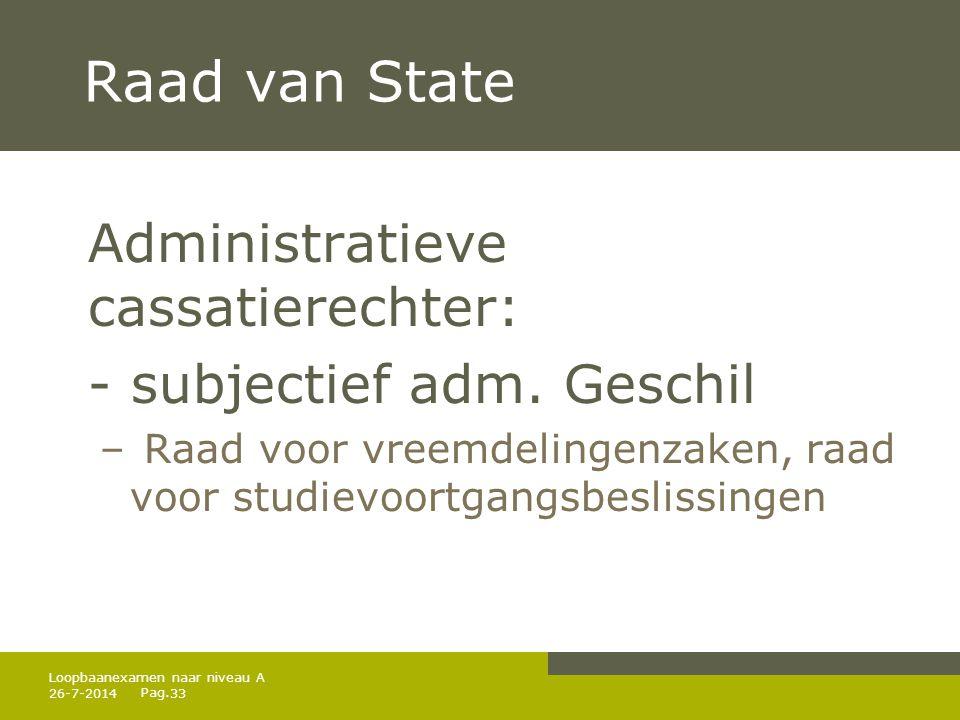 Pag. Raad van State Administratieve cassatierechter: - subjectief adm. Geschil – Raad voor vreemdelingenzaken, raad voor studievoortgangsbeslissingen