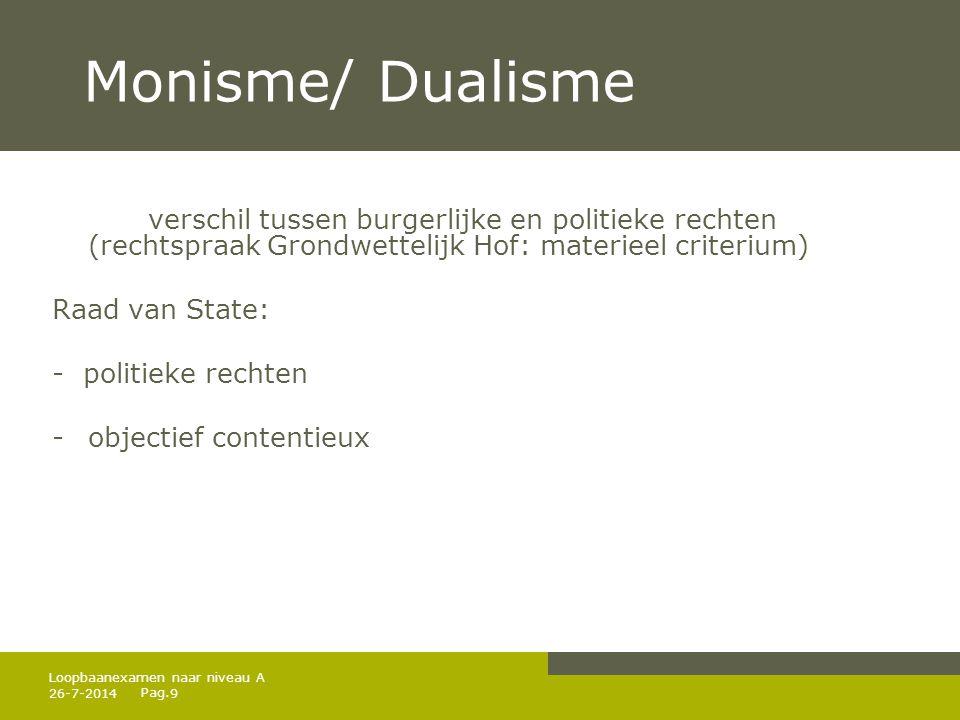 Pag. 26-7-20149 Loopbaanexamen naar niveau A Monisme/ Dualisme verschil tussen burgerlijke en politieke rechten (rechtspraak Grondwettelijk Hof: mater