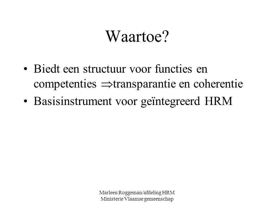 Marleen Roggeman/afdeling HRM Ministerie Vlaamse gemeenschap Waartoe? Biedt een structuur voor functies en competenties  transparantie en coherentie