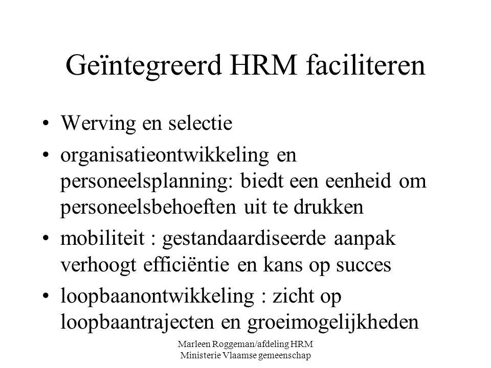 Marleen Roggeman/afdeling HRM Ministerie Vlaamse gemeenschap Geïntegreerd HRM faciliteren Werving en selectie organisatieontwikkeling en personeelspla