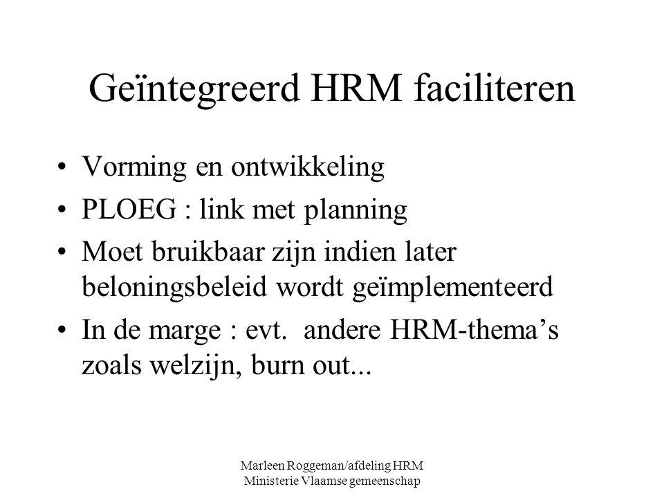 Marleen Roggeman/afdeling HRM Ministerie Vlaamse gemeenschap Geïntegreerd HRM faciliteren Vorming en ontwikkeling PLOEG : link met planning Moet bruik