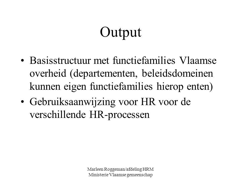 Marleen Roggeman/afdeling HRM Ministerie Vlaamse gemeenschap Output Basisstructuur met functiefamilies Vlaamse overheid (departementen, beleidsdomeine