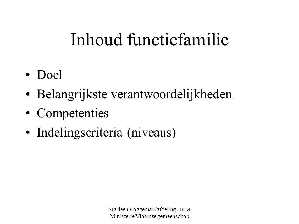 Marleen Roggeman/afdeling HRM Ministerie Vlaamse gemeenschap Inhoud functiefamilie Doel Belangrijkste verantwoordelijkheden Competenties Indelingscrit