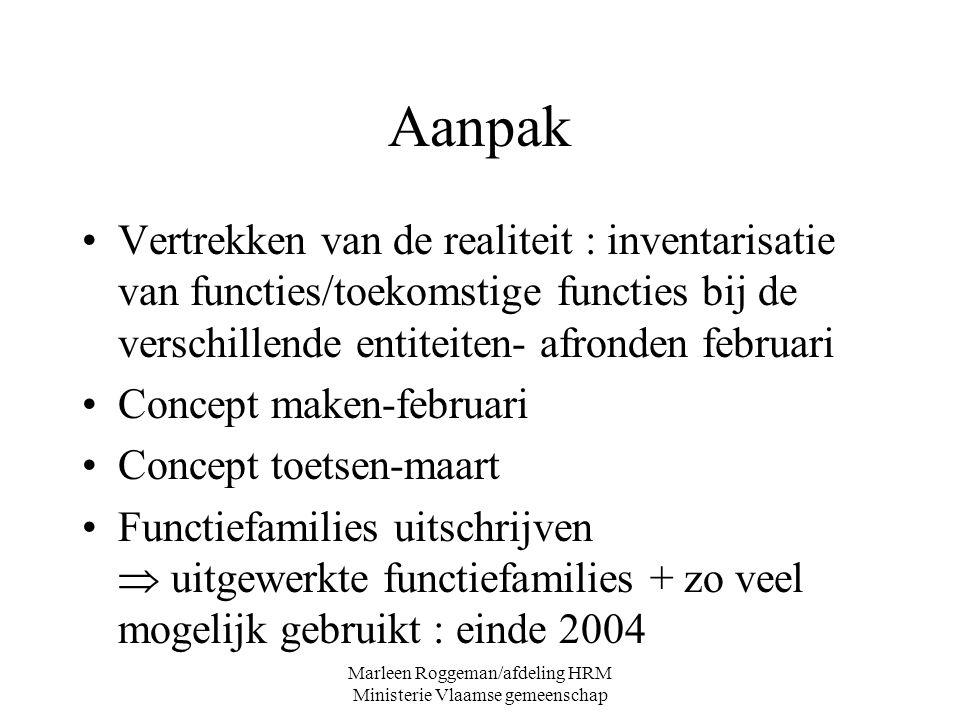 Marleen Roggeman/afdeling HRM Ministerie Vlaamse gemeenschap Aanpak Vertrekken van de realiteit : inventarisatie van functies/toekomstige functies bij