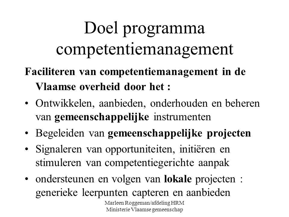 Marleen Roggeman/afdeling HRM Ministerie Vlaamse gemeenschap Doel programma competentiemanagement Faciliteren van competentiemanagement in de Vlaamse