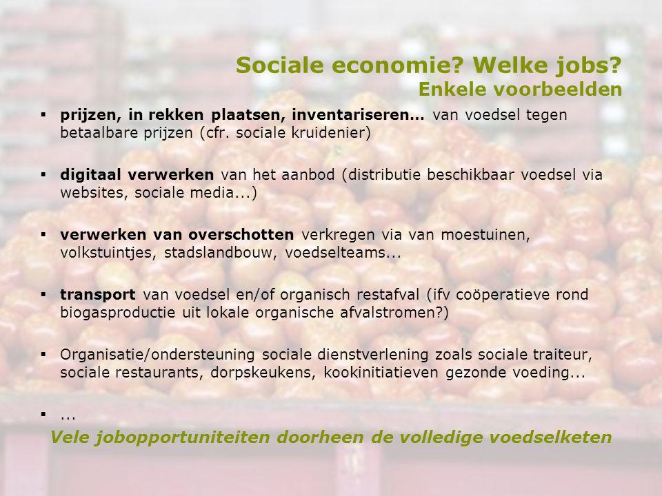 Sociale economie? Welke jobs? Enkele voorbeelden  prijzen, in rekken plaatsen, inventariseren… van voedsel tegen betaalbare prijzen (cfr. sociale kru