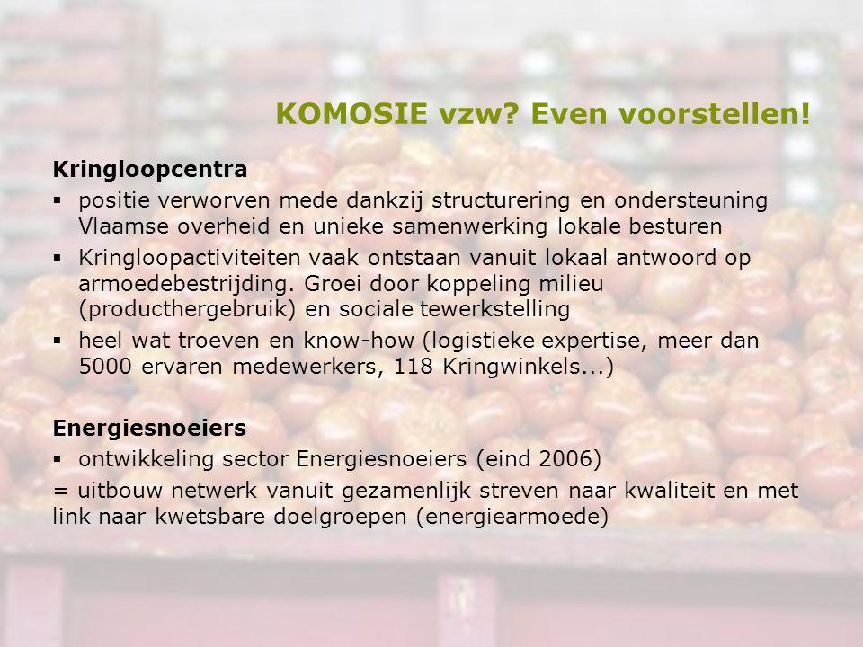 KOMOSIE vzw? Even voorstellen! Kringloopcentra  positie verworven mede dankzij structurering en ondersteuning Vlaamse overheid en unieke samenwerking