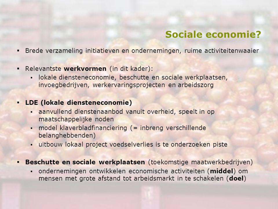 Sociale economie?  Brede verzameling initiatieven en ondernemingen, ruime activiteitenwaaier  Relevantste werkvormen (in dit kader): ▪lokale dienste
