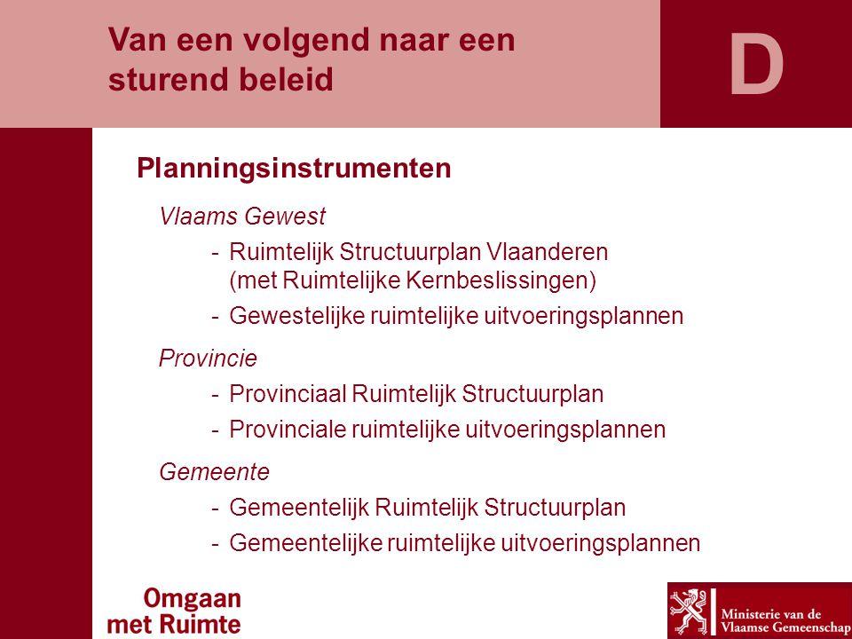 Van een volgend naar een sturend beleid Planningsinstrumenten Vlaams Gewest -Ruimtelijk Structuurplan Vlaanderen (met Ruimtelijke Kernbeslissingen) -G